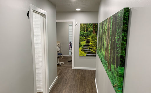 Dr Matthew Bender and Dr Scott Lewis at Meadowbrook Dental in Salt Lake City, Utah have wide, clean hallways with clearly marked exam rooms.